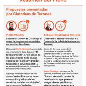 Infografía resumen del pleno de Terrassa del mes de junio
